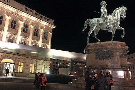 Albertina Vienna museum at night