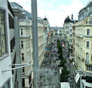 Vienna shopping for luxury: Karntner Strasse view from Steffl