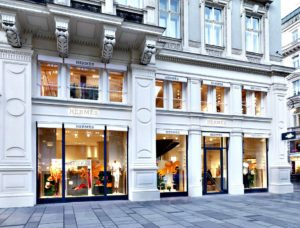 Vienna shopping for luxury: Hermes store at Graben