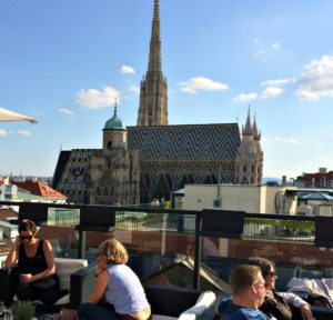 Best rooftop views Vienna: Stephansdom from Cafe Bloom