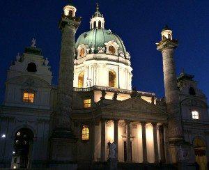 church St. Charles Borromeo in Vienna at night