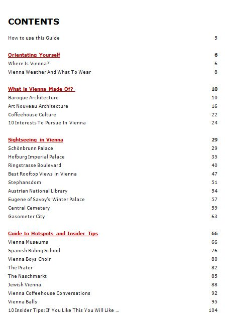 Vienna Travel Guide pdf: contents page 1