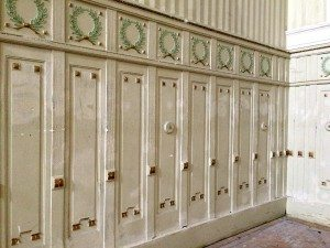 Otto Wagner church: wood panels of onsite theatre