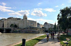 Vienna tours by bike: Danube Canal bike path