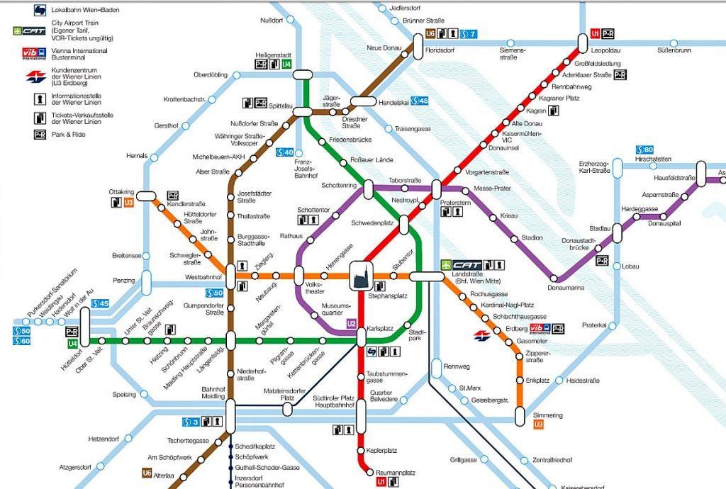 Map of Vienna: detail of metro map