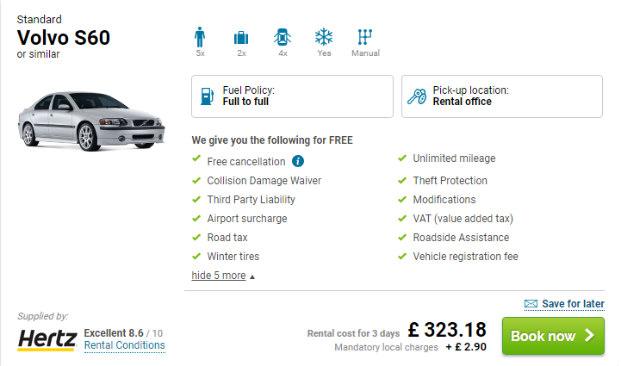 car rental Vienna: sample offer