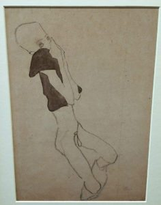 Egon Schiele Museum: Nude Boy in Gray Shirt