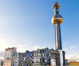 Vienna Danube: Hundertwasser designed waste plant Spittelau