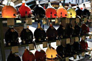 Naschmarkt in Vienna: vinegar bottles