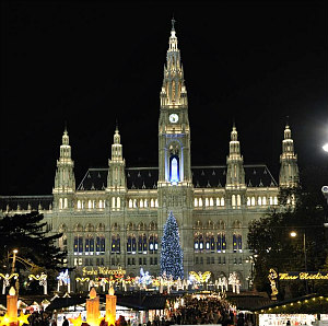 Christmas Market in front of Rathaus Vienna