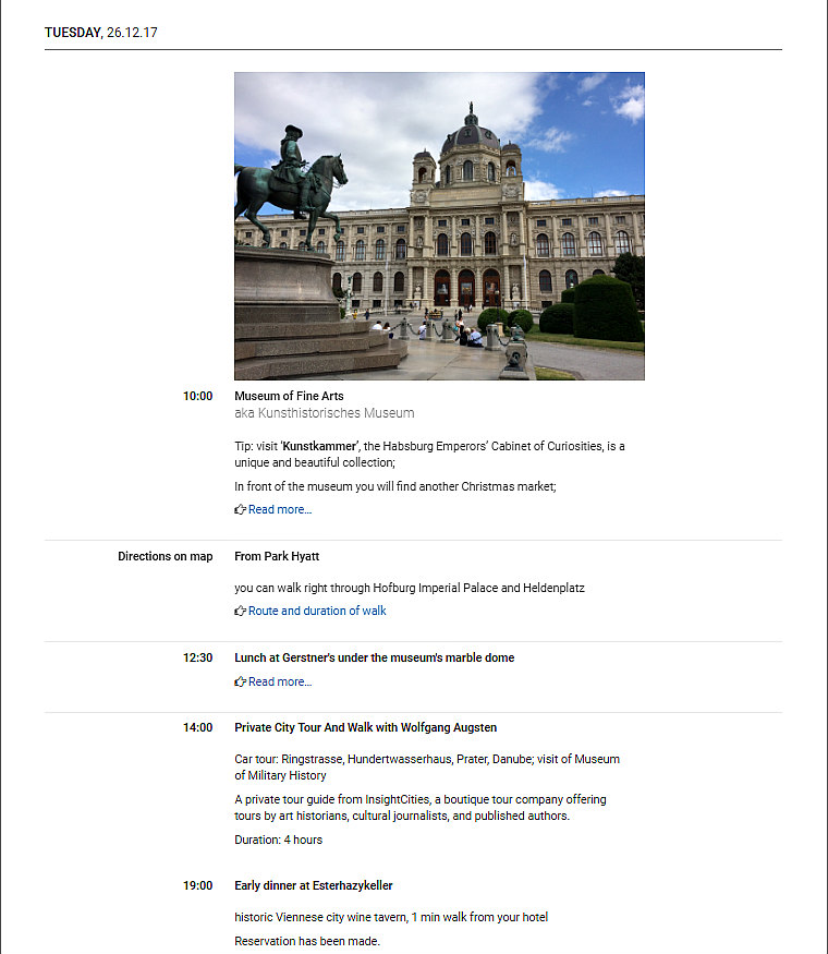 Vienna travel planning: sample itinerary page