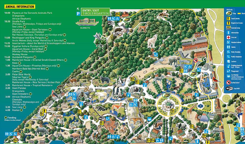 Vienna zoo map: Schonbrunn zoo