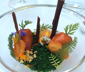 Michelin restaurant Silvio Nickol: glazed goose liver and vegetable dish
