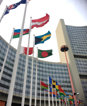United National headquarters Vienna: flags