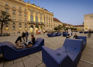 Enzi lounges at Museumsquartier in Vienna