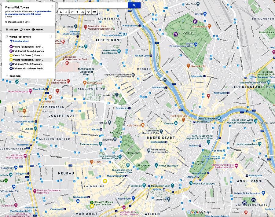 Vienna flak tower map